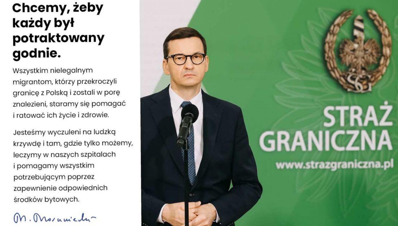 Chcemy, żeby każdy był potraktowany godnie - napisał w piątek premier Mateusz Morawiecki (fot. facebook/MorawieckiPL)