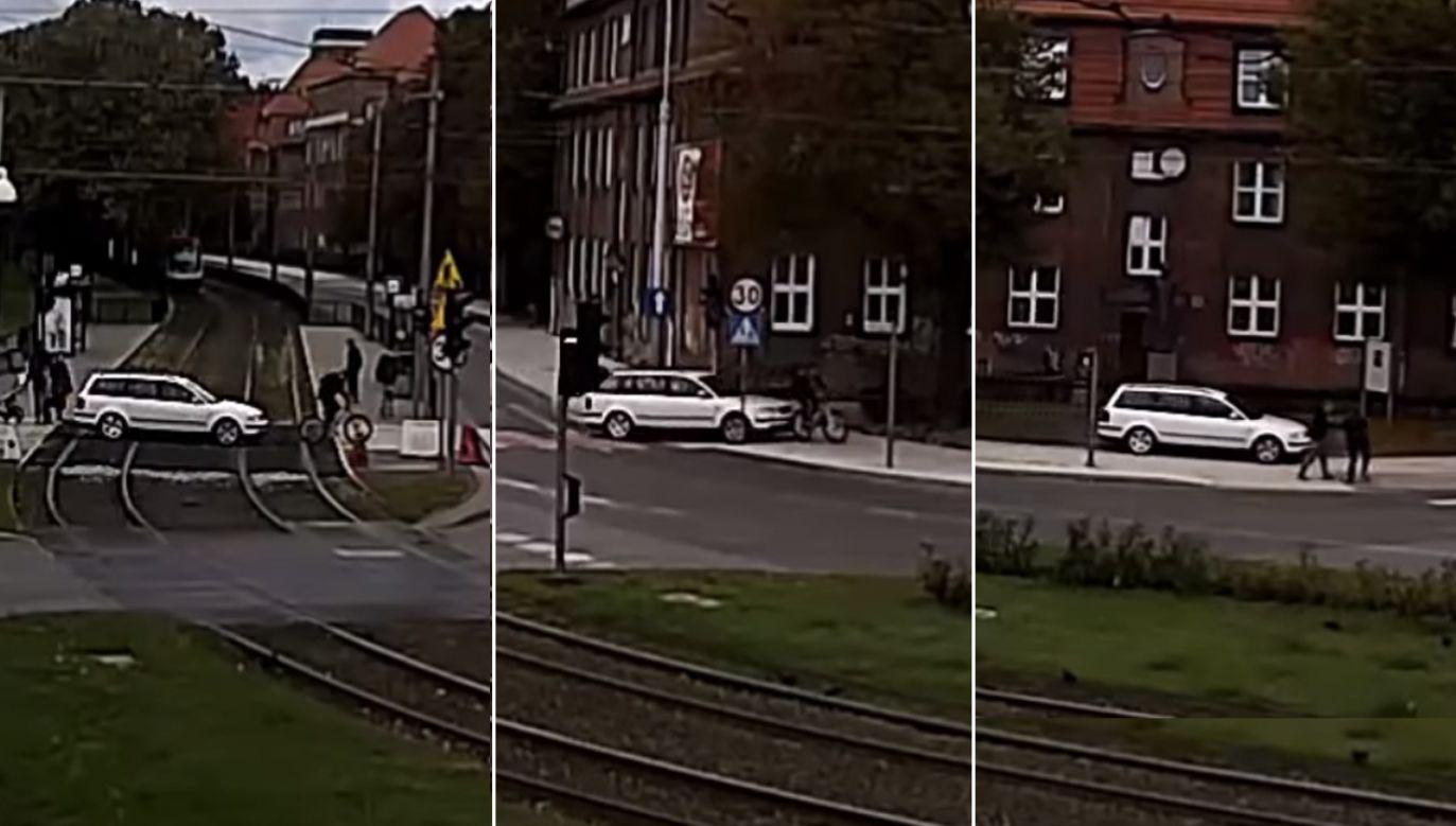 Kierowca passata potrącił jadącego przed nim po wyznaczonym przejeździe dla rowerzystów mężczyznę (fot. Komenda Miejska Policji w Gdańsku)