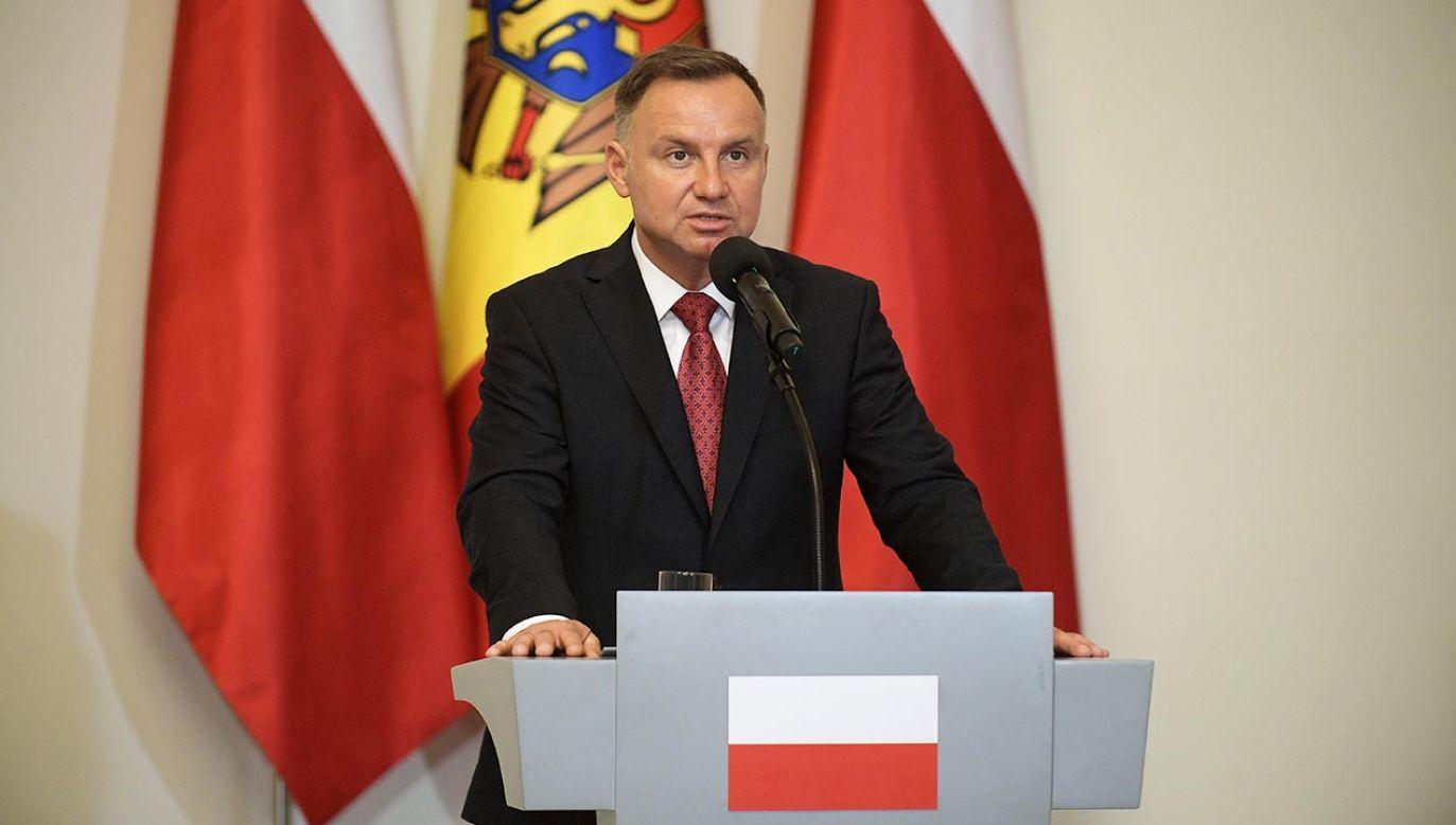 Andrzej Duda o spotkaniu z prezydent Mołdawii (fot. PAP/Marcin Obara)