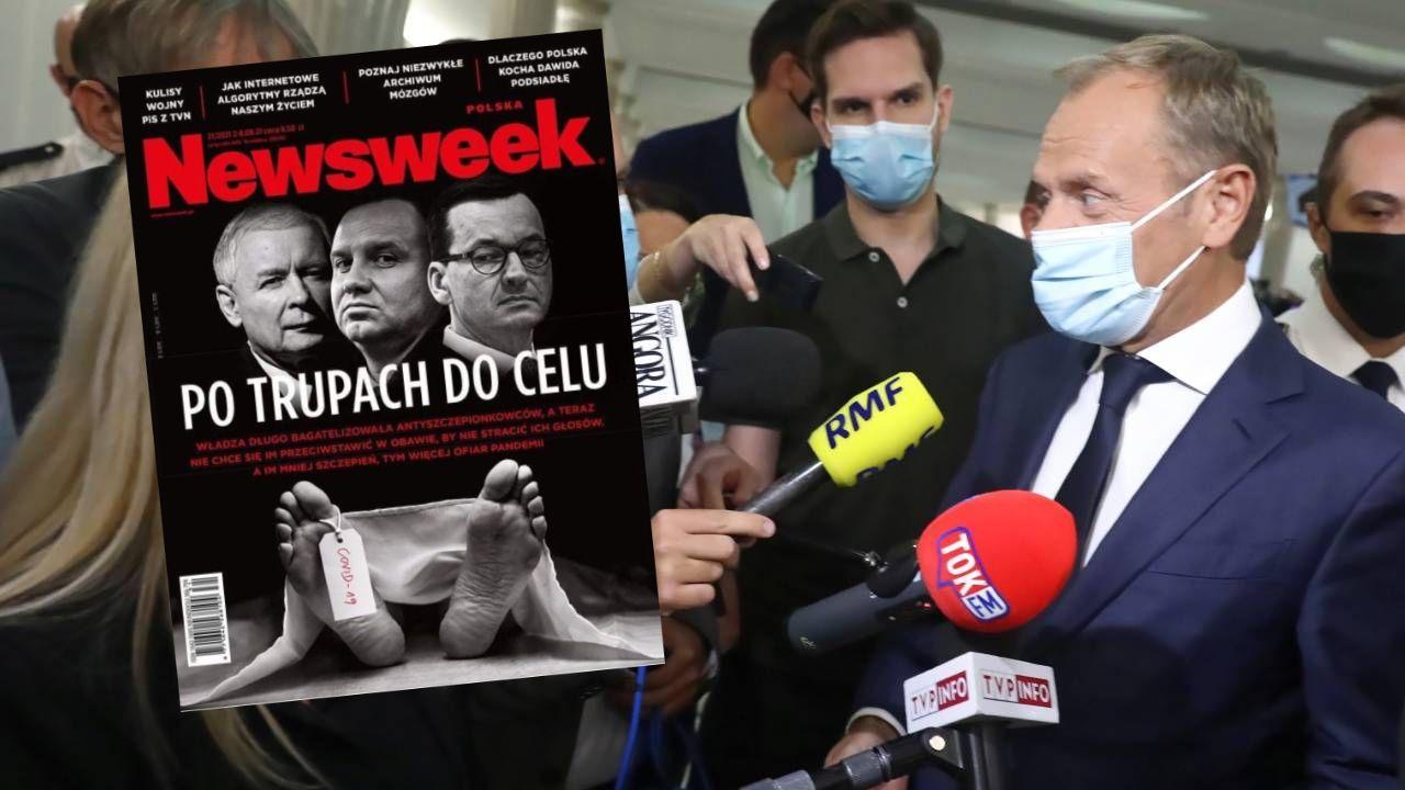 Donald Tusk lansuje swoją narrację propagandową, a następnie powielają ją pracownicy zaprzyjaźnionych mediów (fot. PAP/Tomasz Gzell, Twitter.com)