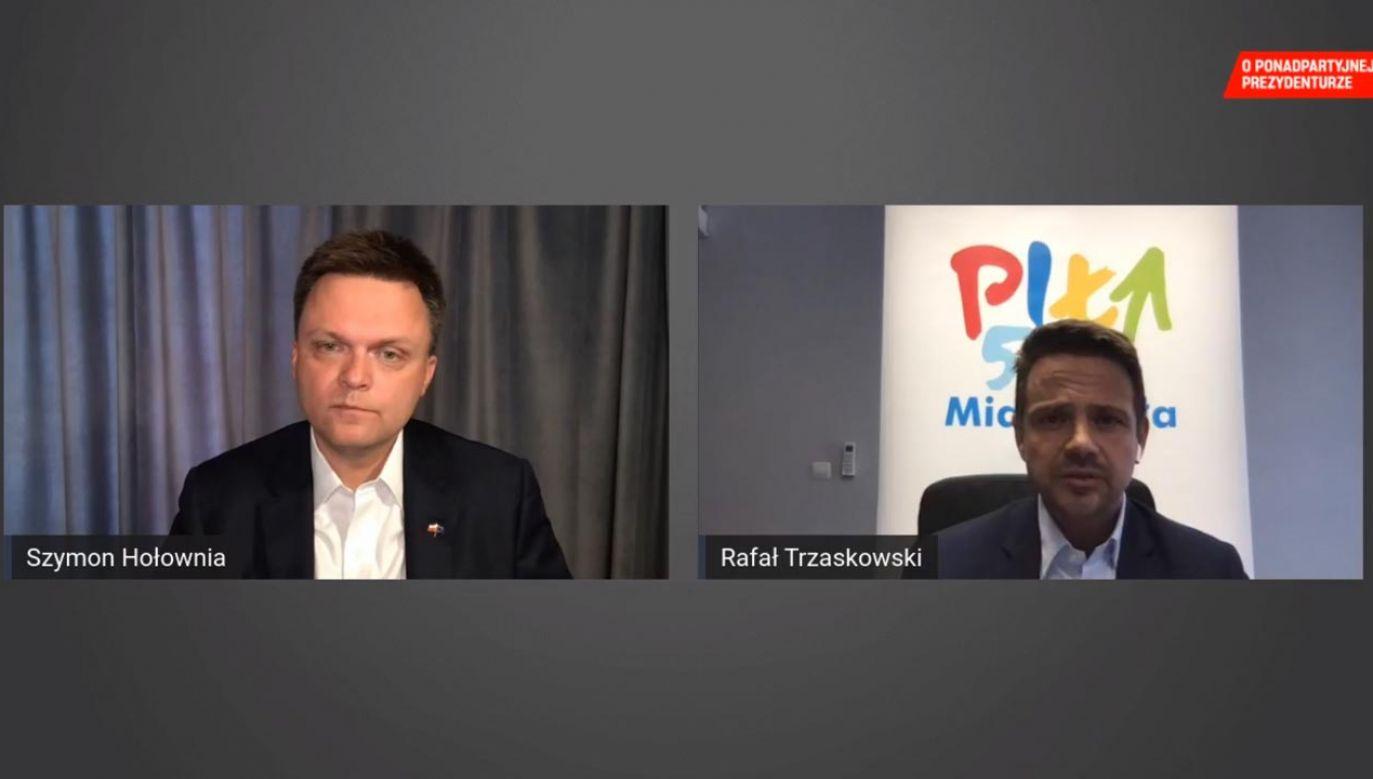 Internetowa debata Szymona Hołowni i Rafała Trzaskowskiego (fot. Facebook/Rafał Trzaskowski)
