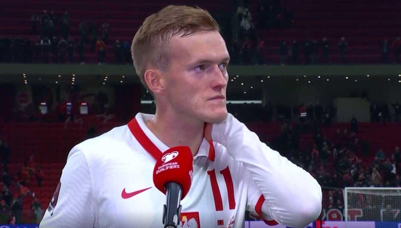 Karol Świderski musiał przerwać wywiad po meczu z Albanią (fot. TVP Sport)