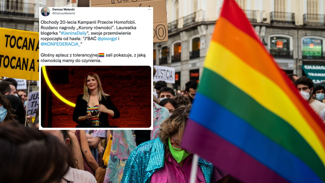 Korony Równości 2021 (fot. Marcos del Mazo/LightRocket via Getty Images, twitter.com/DariuszMatecki)