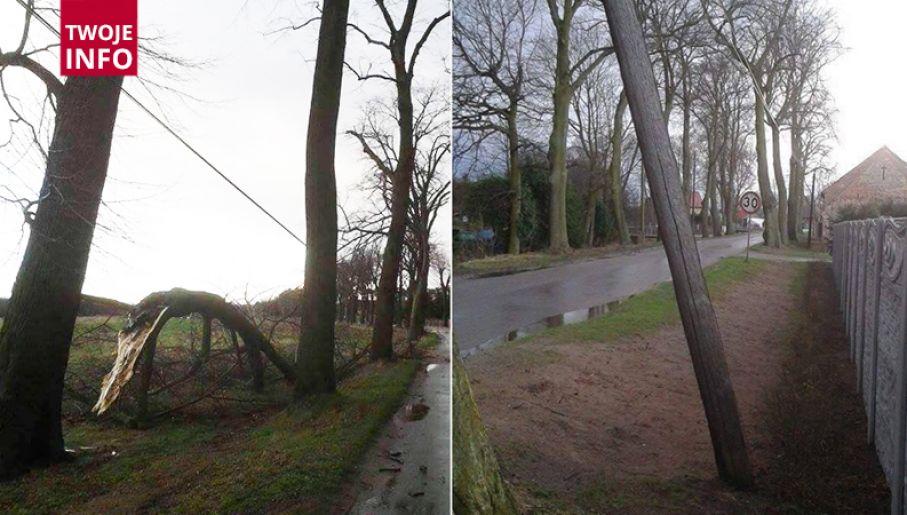 Połamane konary zostawił po sobie wiatr w woj. lubuskim (fot.Twoje Info)