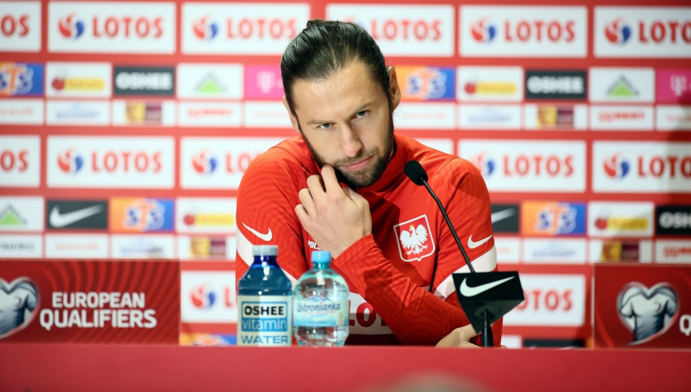 Grzegorz Krychowiak podczas konferencji reprezentacji Polski (Fot. Getty)