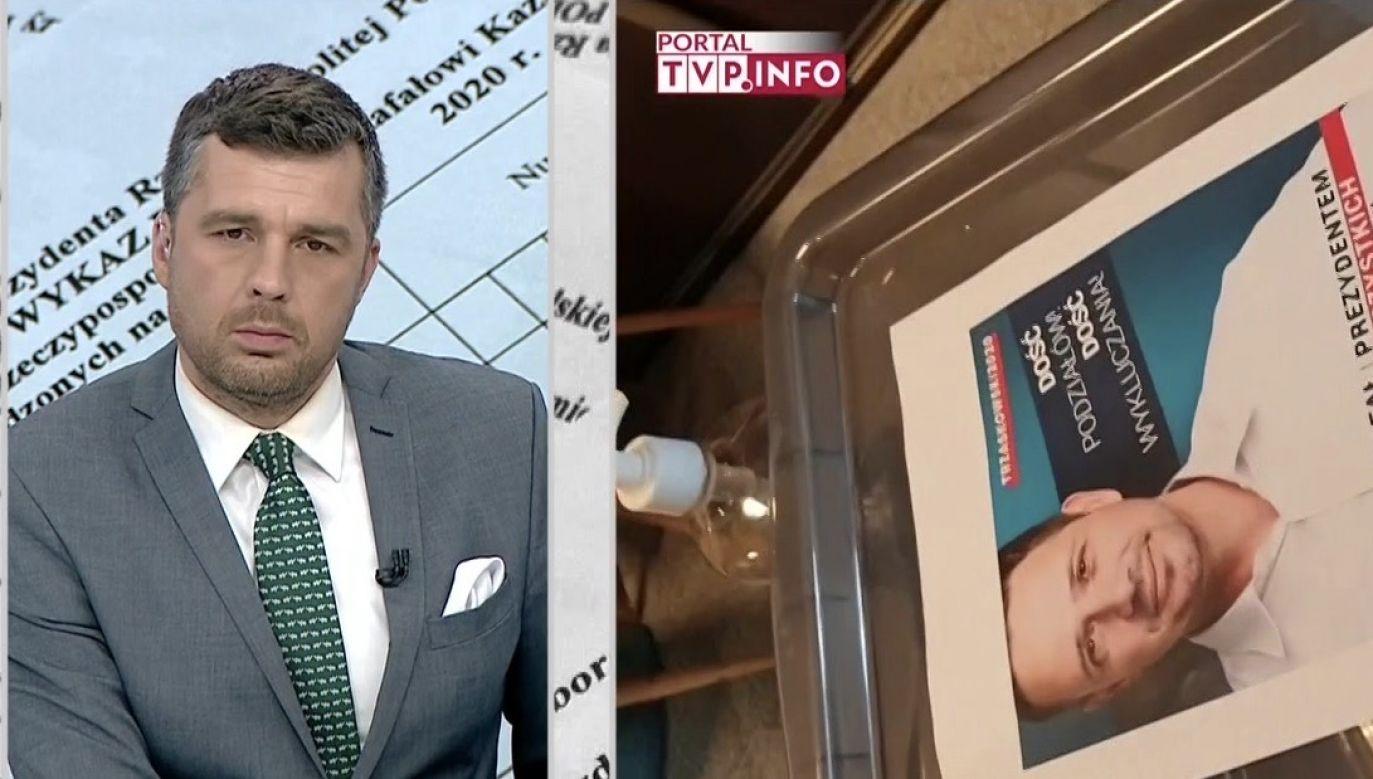 Michał Rachoń o nielegalnej zbiórce podpisów dla Trzaskowskiego (fot. TVP Info)