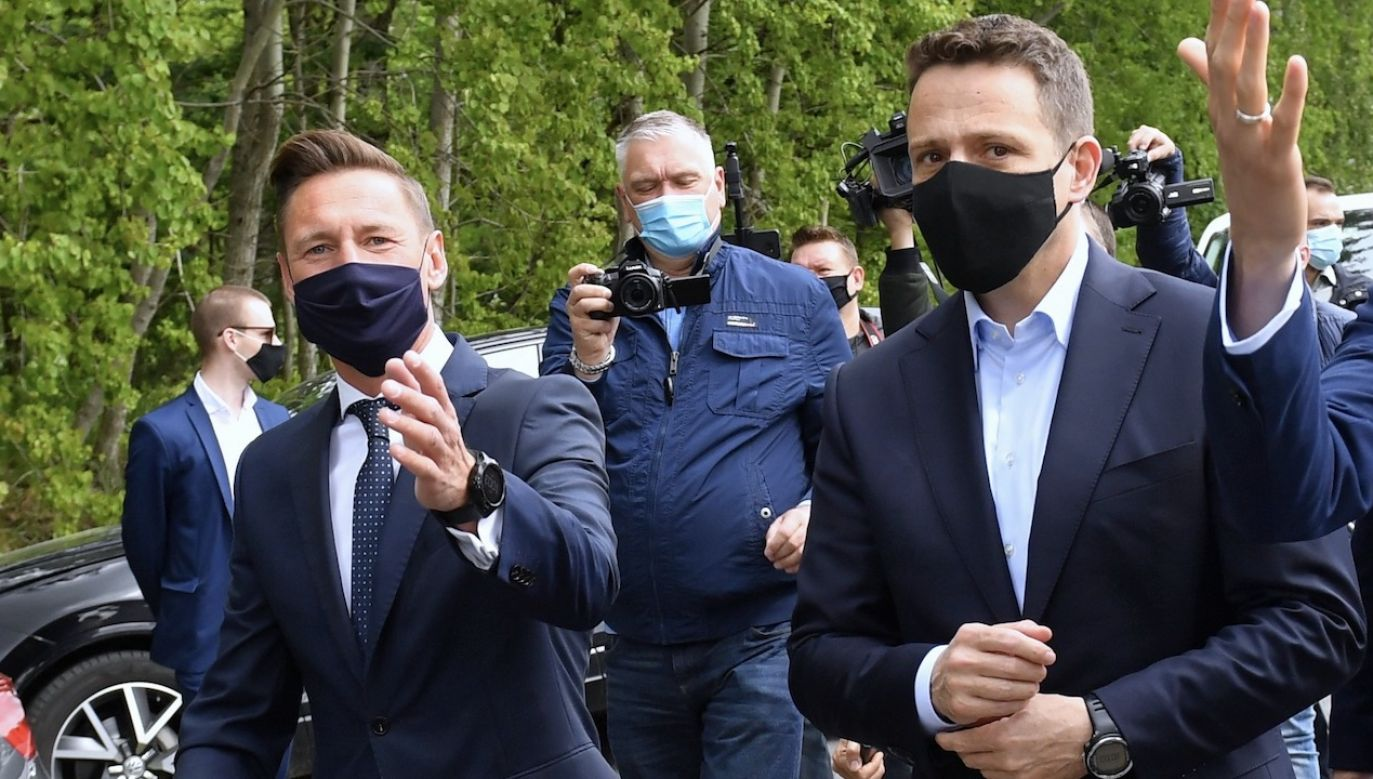 Wybory prezydenckie. Kandydat KO Rafał Trzaskowski (fot. PAP/Marcin Bielecki)