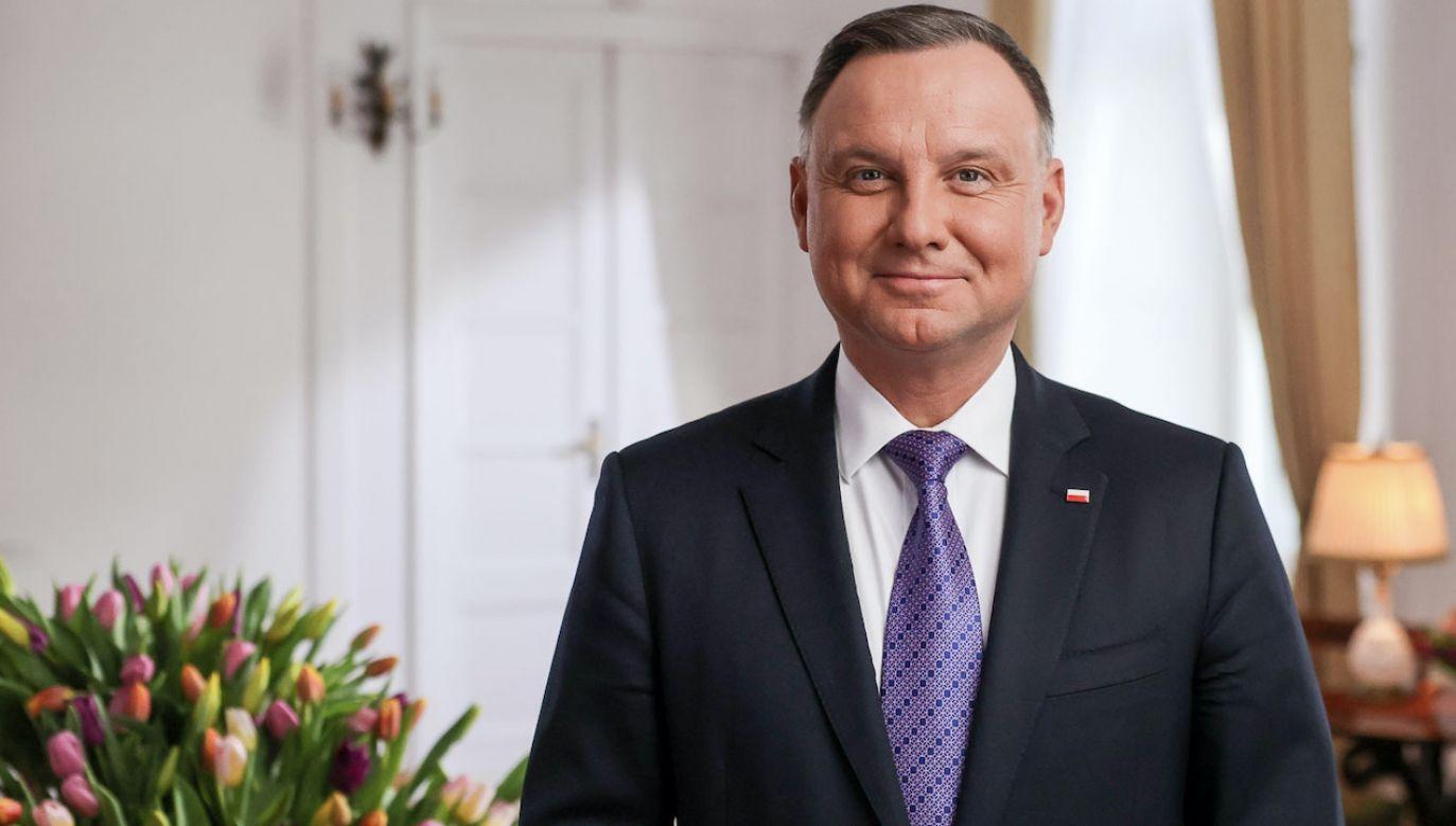 Prezydent Andrzej Duda złożył życzenia na Dzień Kobiet (fot. Jakub Szymczuk/KPRP)