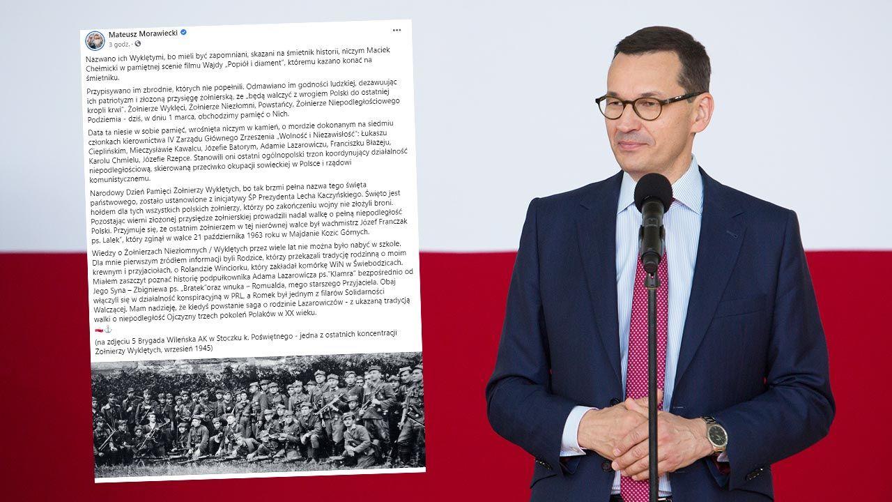 Premier Mateusz Morawiecki podkreśla, że 1 marca obchodzimy Narodowy Dzień Pamięci Żołnierzy Wyklętych (fot. Forum/Mateusz Wlodarczyk)