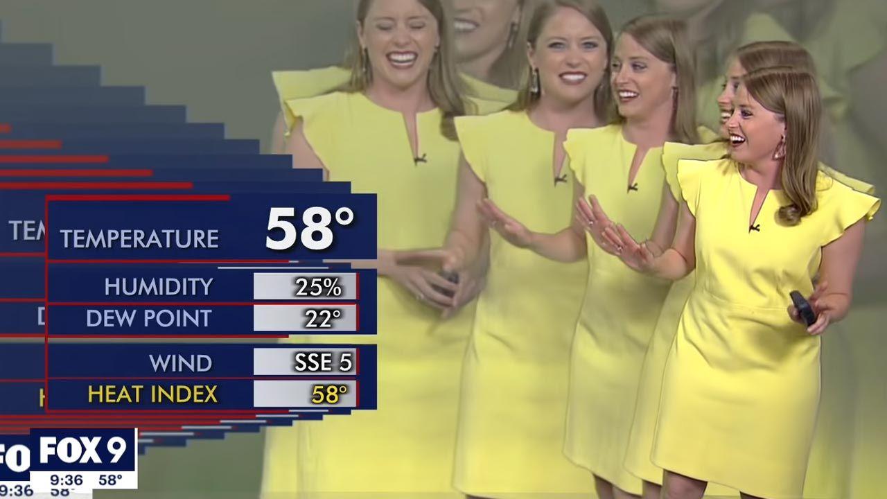 Prezenterka została zmultiplikowana przez błąd grafiki (fot. YouTube/ FOX 9 Minneapolis-St. Paul)