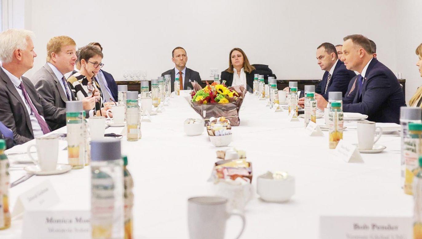 Prezydent Andrzej Duda na spotkaniu z przedstawicielami biznesu w USA (fot. Jakub Szymczuk/KPRP)