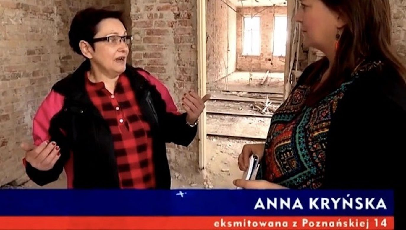 Anna Kryńska została wyrzucona z mieszkania w kamienicy przy ul. Poznańskiej 14 w Warszawie (fot. TVP Info)