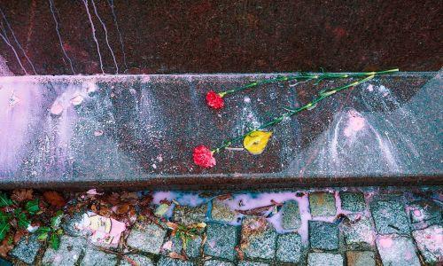 Kwiaty położone u stóp pomnika Kanta przed Uniwersytetem po tym, jak oblano monument farbą. Listopad 2018 r. Fot. Vitaly Nevar\TASS via Getty Images