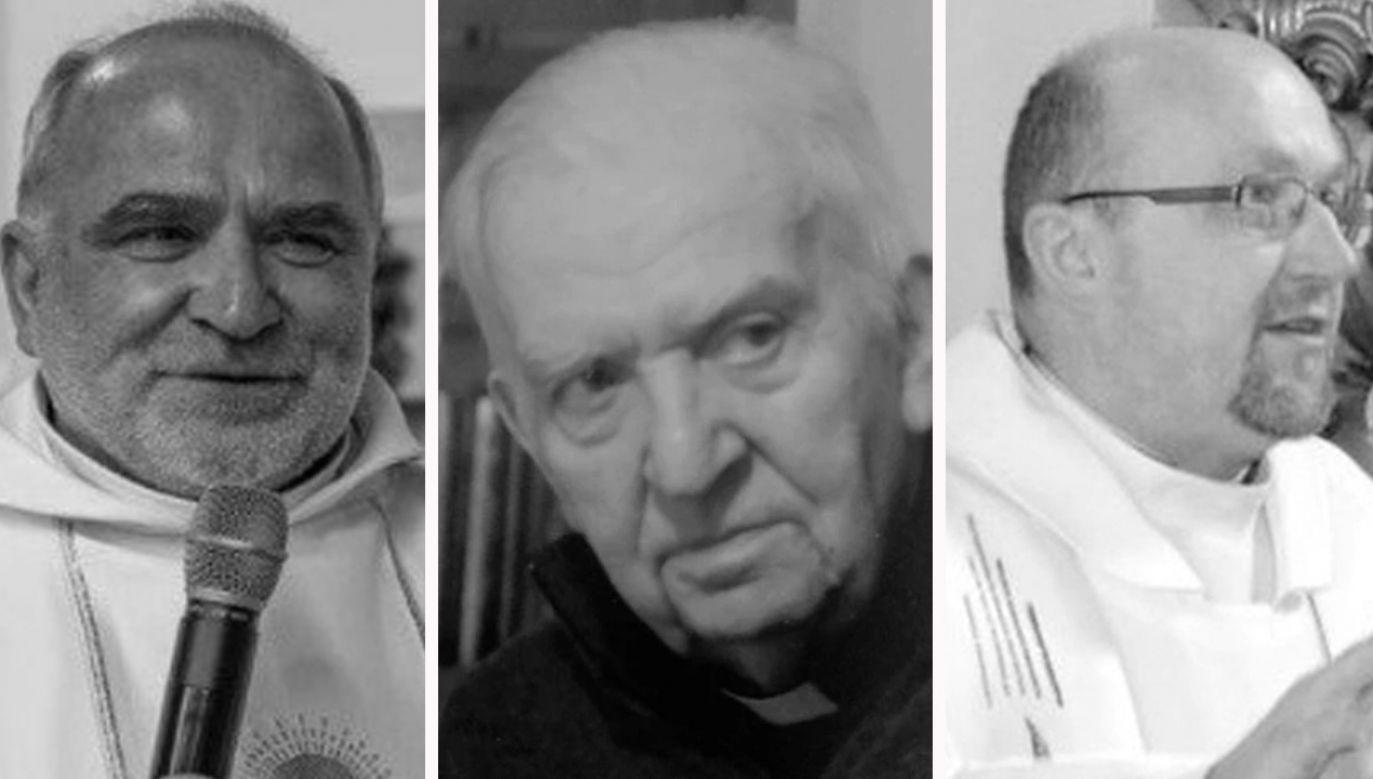 Od lewej - Józef Wojtasek, Zygmunt Nabzdyk, Ryszard Michalik (fot. parafia w Moszczance; diecezja.opole.pl; parafia w Chróścinie Opolskiej)