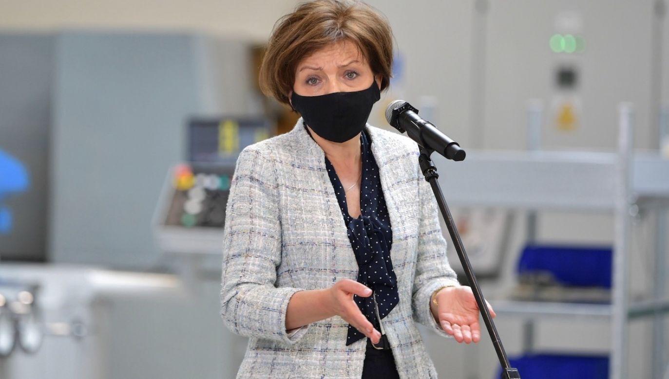 W środę podczas zdawania dziennego raportu dot. Tarczy Antykryzysowej Marlena Maląg zwróciła uwagę na wsparcie z funduszu gwarantowanych świadczeń pracowniczych(fot. PAP/Przemysław Piątkowski)