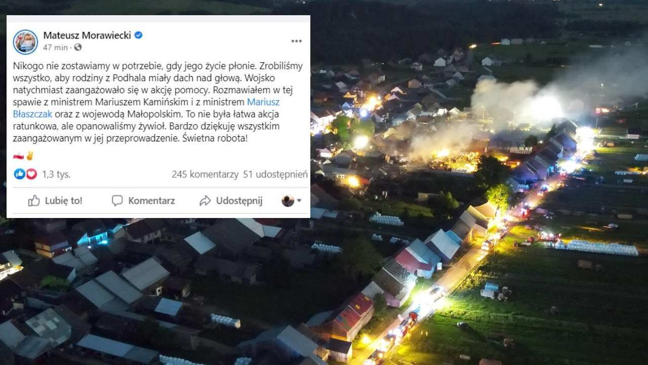 Zapaleniu uległo 21 budynków mieszkalnych oraz budynki gospodarcze (fot. PAP/Grzegorz Momot)