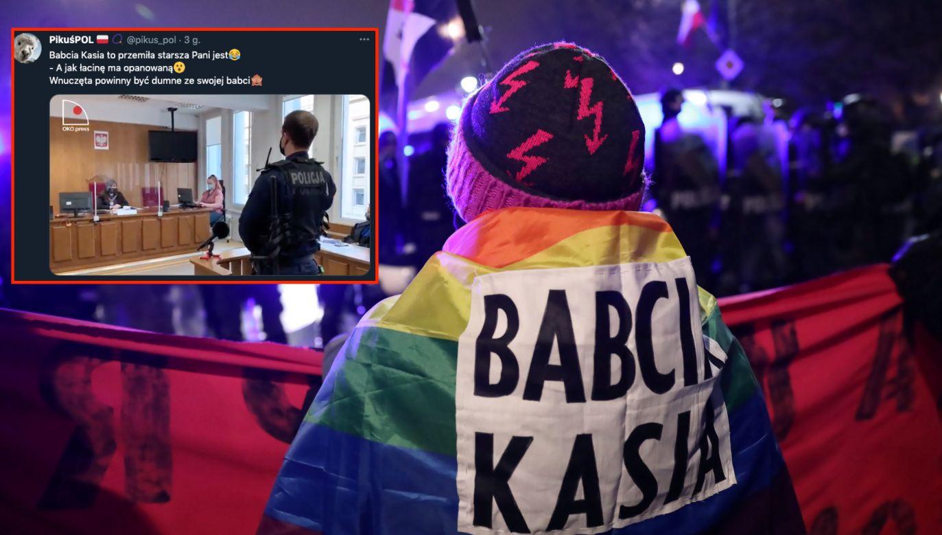 Babcia Kasia podczas protestu (fot. PAP/Leszek Szymański, Twitter.com.pikuspol, oko.press)