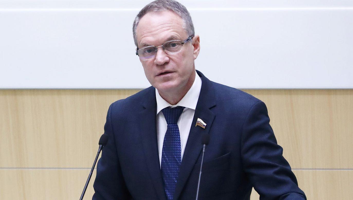 Aleksandr Bashkin zabrał głos na sesji Zgromadzenia Parlamentarnego Rady Europy (fot. Anton Novoderezhkin\TASS via Getty Images)
