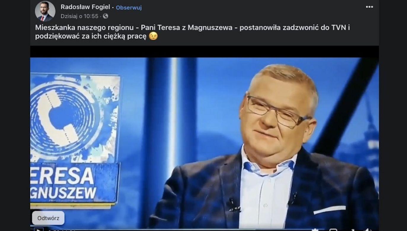 Radosław Fogiel zamieścił na Twitterze fragment programu (fot. FB/Radosław Fogiel)