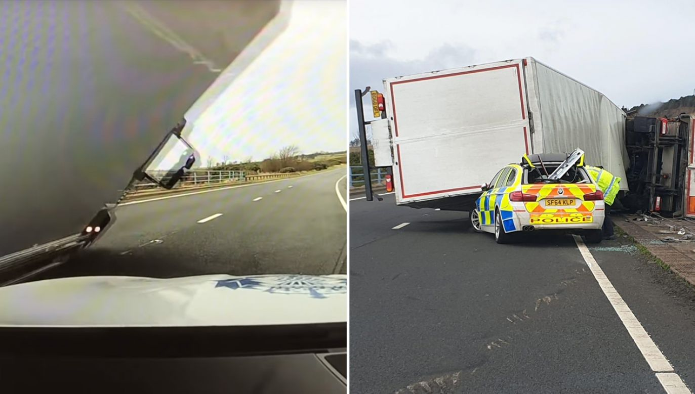 Ciężarówka spadła na radiowóz (fot. Twitter/Road Policing Scotland)