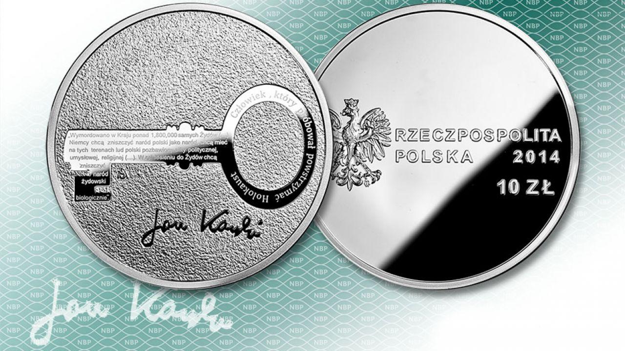 Na monecie nie ma wizerunku Karskiego – zamiast niego jest klucz, w którym kurier przewoził mikrodruki dokumentujące sytuację w Polsce (fot. kolekcjoner.nbp.pl)
