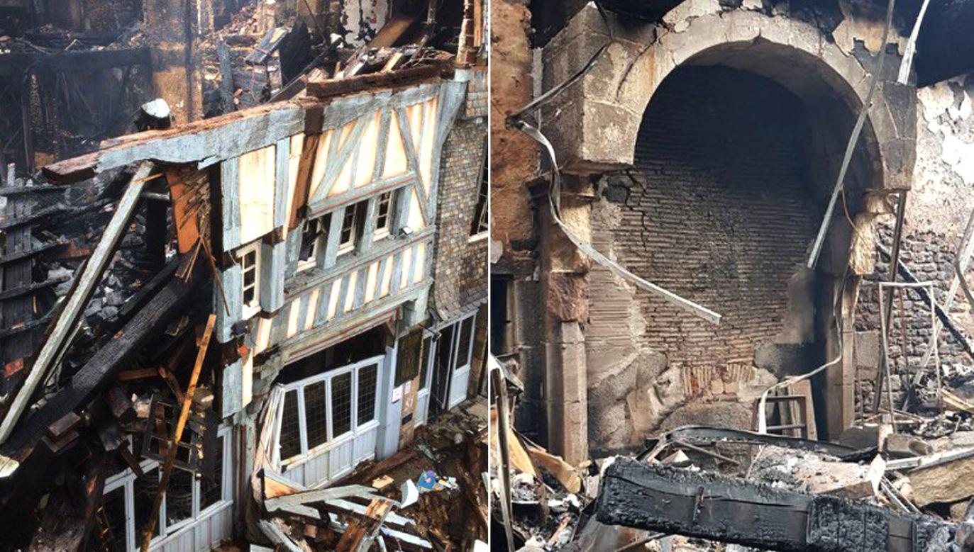 Pożar strawił budynek z XV w., zwany Maison Pourcel (fot. tt/@villededinan)