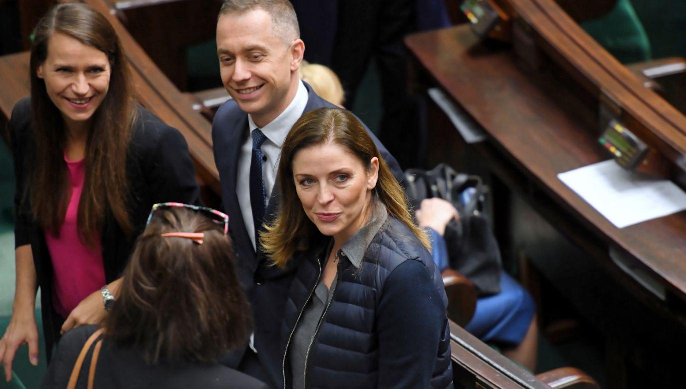 Joanna Mucha (P) rozważa start w wyborach na szefa Platformy Obywatelskiej (fot. PAP/Piotr Nowak)