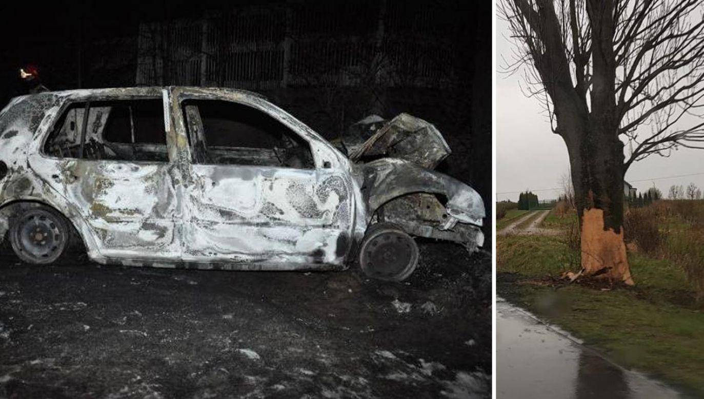 Oba pojazdy zapaliły się (fot. Policja)