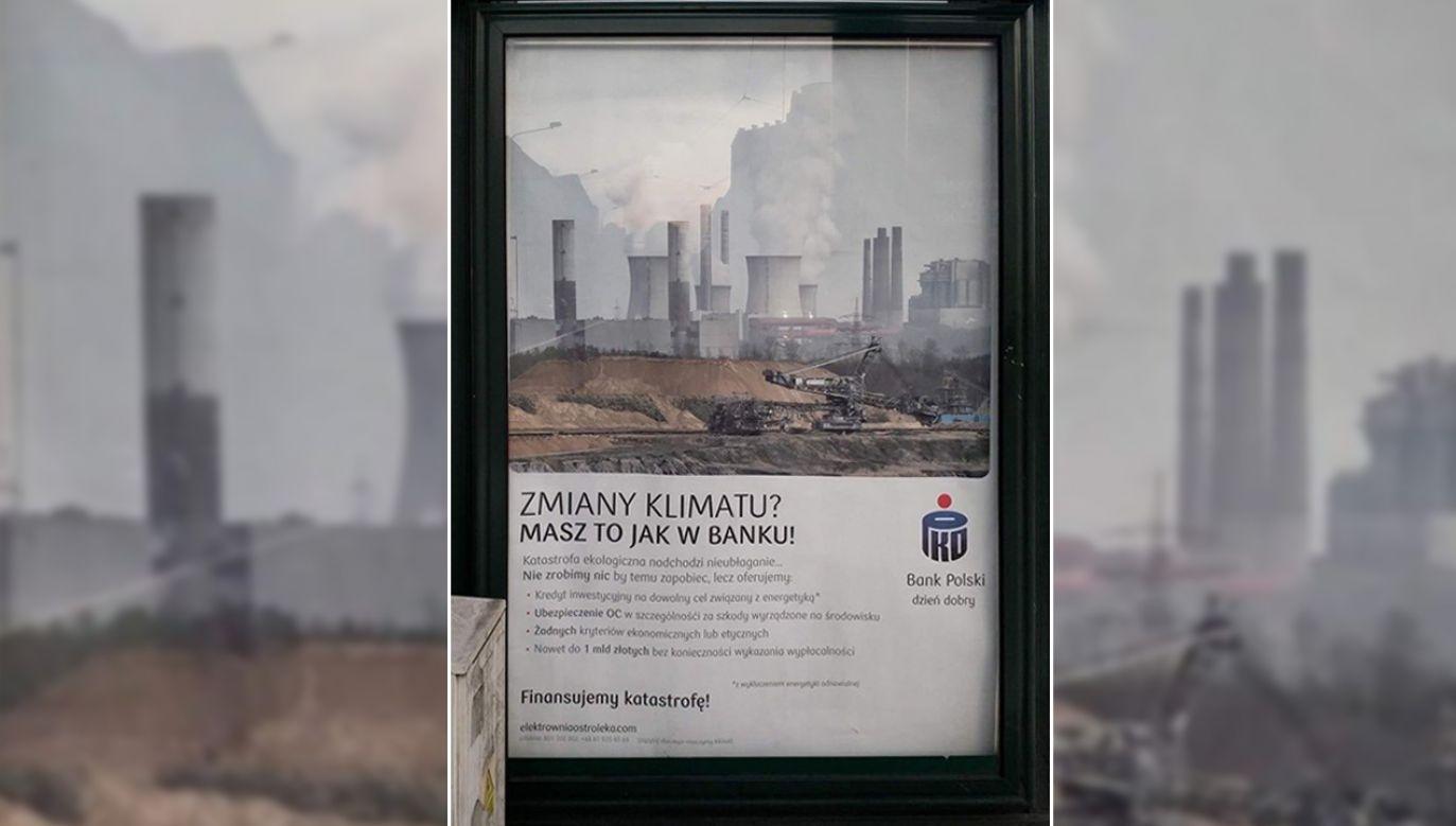 Do akcji przyznała się radykalna poznańska organizacja Rozbrat (fot. TT/Młodzieżowy Strajk Klimatyczny)