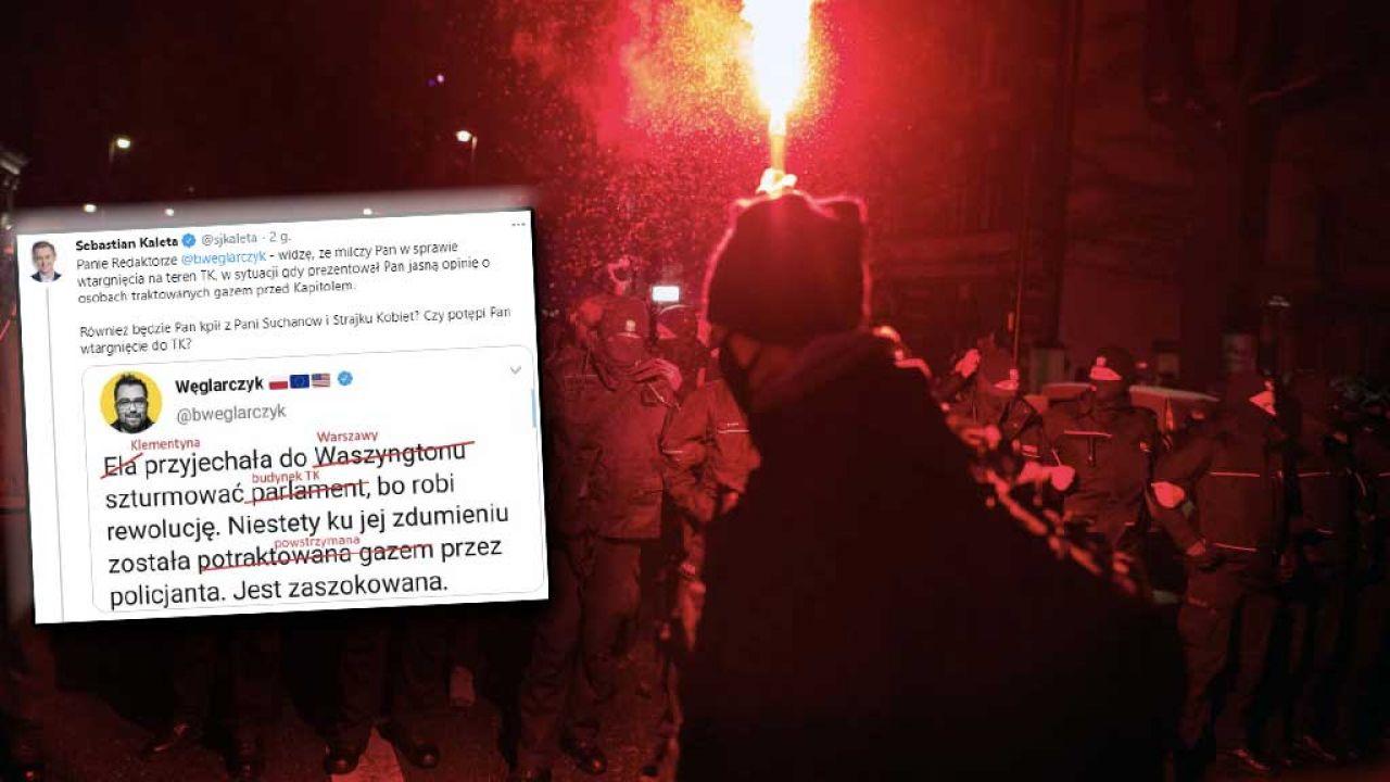 Protestujący wtargnęli na teren TK (fot. A.Husejnow/SOPA/LightRocket/Getty Images; TT/ Sebastian Kaleta))