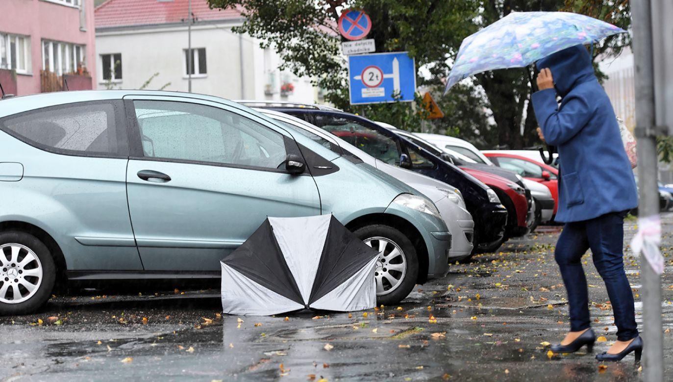 Intensywne opady deszczu i porywisty wiatr nad Szczecinem (fot. PAP/Marcin Bielecki)