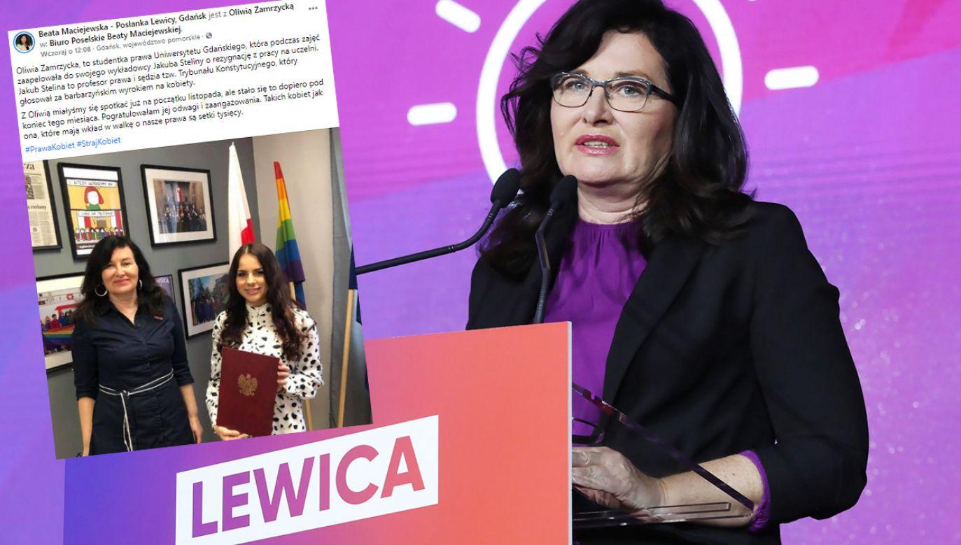 Posłanka Lewicy Beata Maciejewska pogratulowała na Facebooku studentce (fot. PAP/Tomasz Gzell; Facebook/Beata Maciejewska)