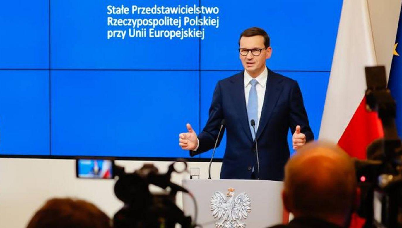 Polskę na szczycie w Brukseli reprezentował premier Morawiecki (fot. Twitter/@PremierRP)