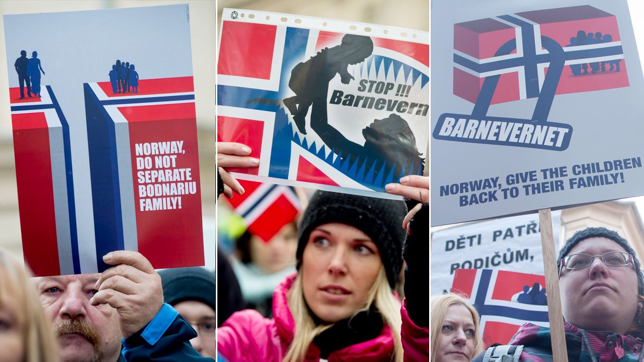 Protest przeciwko działaniom norweskich instytucji zajmujących się ochroną praw dzieci (fot. arch. PAP)