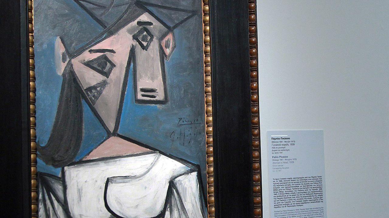 """""""Głowa kobiety"""" Pabla Picassa z 1939 roku (fot.  PAP/EPA/CHRISTINA ZACHOPOULOU)"""