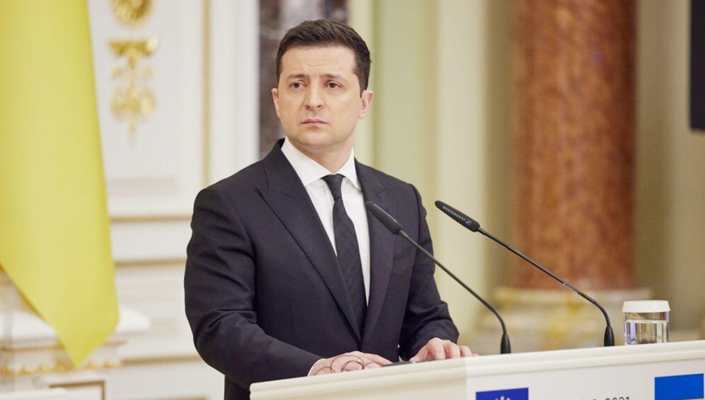 Prezydent Ukrainy Wołodymyr Zełenski (fot. Ukrainian Presidency / Handout/Anadolu Agency via Getty Images)