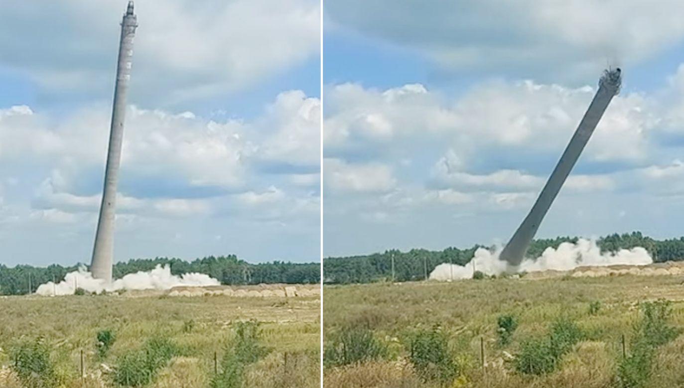 Nieużywany od lat komin został wysadzony (fot. YouTube/TARNOGORSKI)
