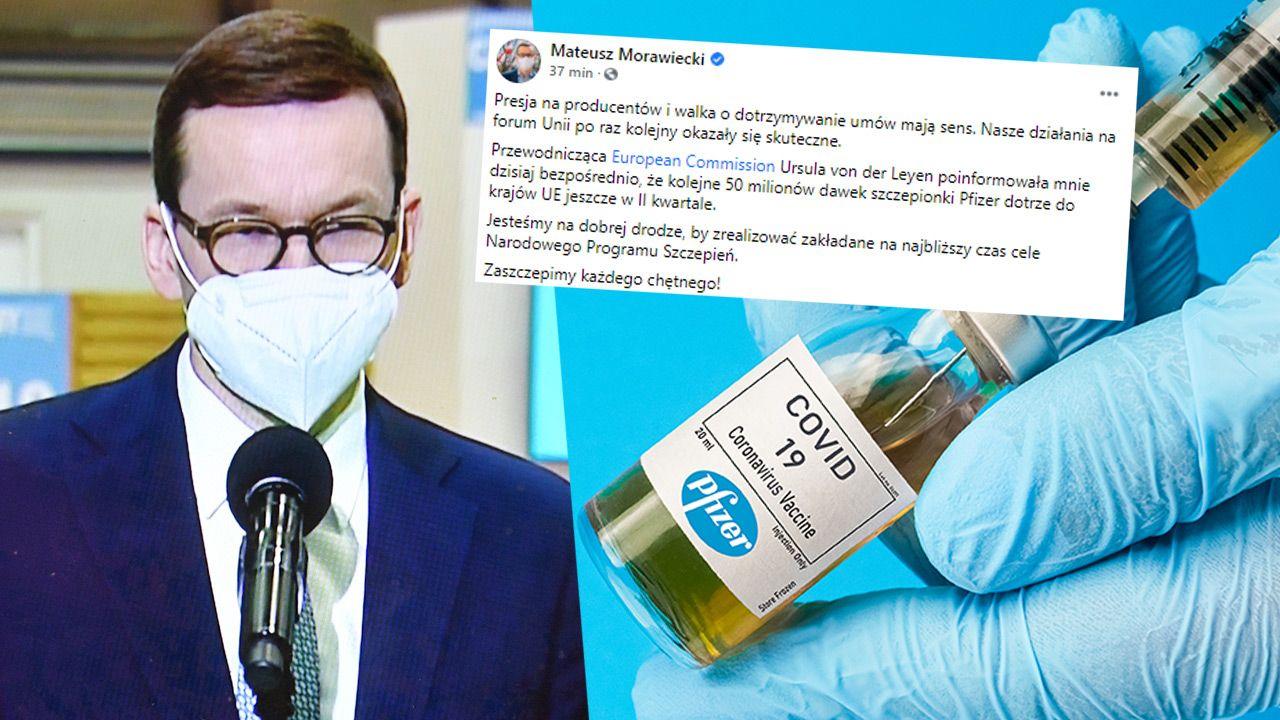 Mateusz Morawiecki poinformował o zamówieniu 50 mln dawek szczepionki Pfizer dla UE (fot. PAP//Radek Pietruszka; Shutterstock)