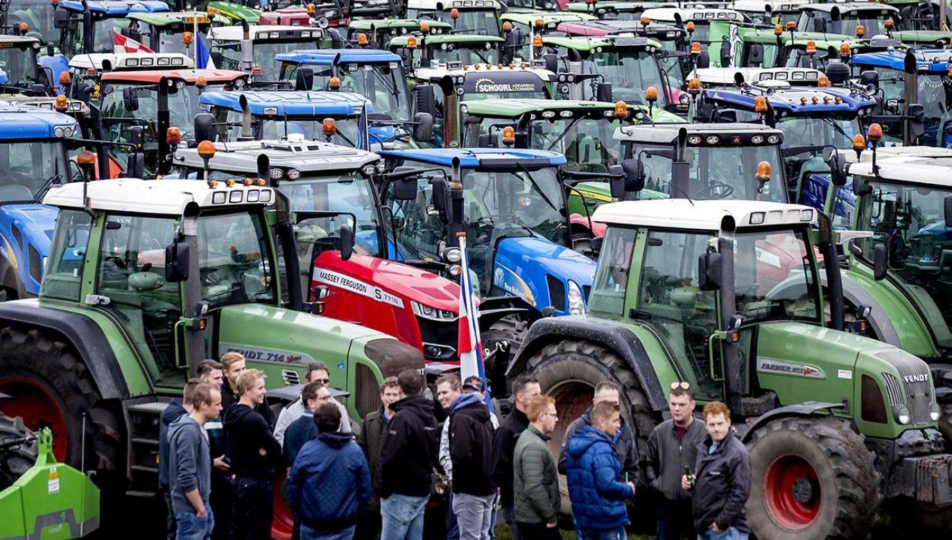 Rolnicy chcą wjechać na teren parlamentu (fot. PAP/EPA/KOEN VAN WEEL)
