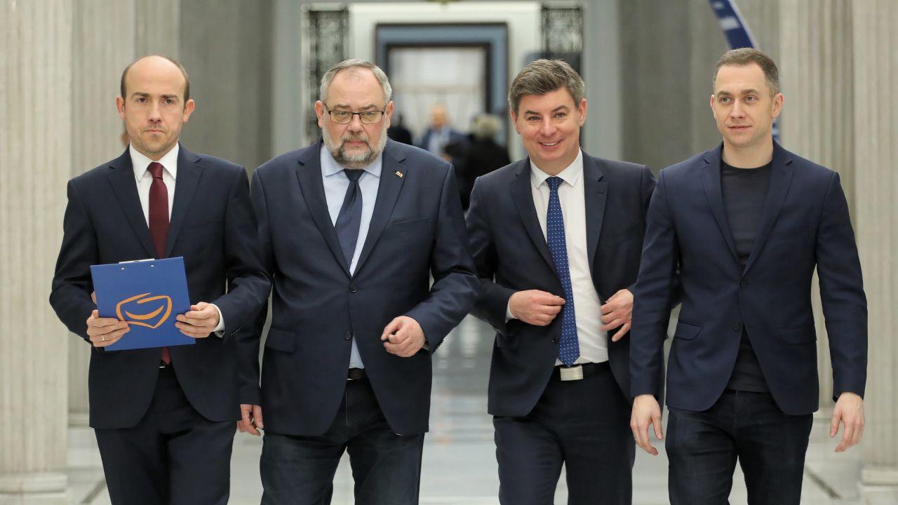 Borys Budka, Piotr Adamowicz, Cezary Tomczyk i Jan Grabiec (fot. PAP/Paweł Supernak)