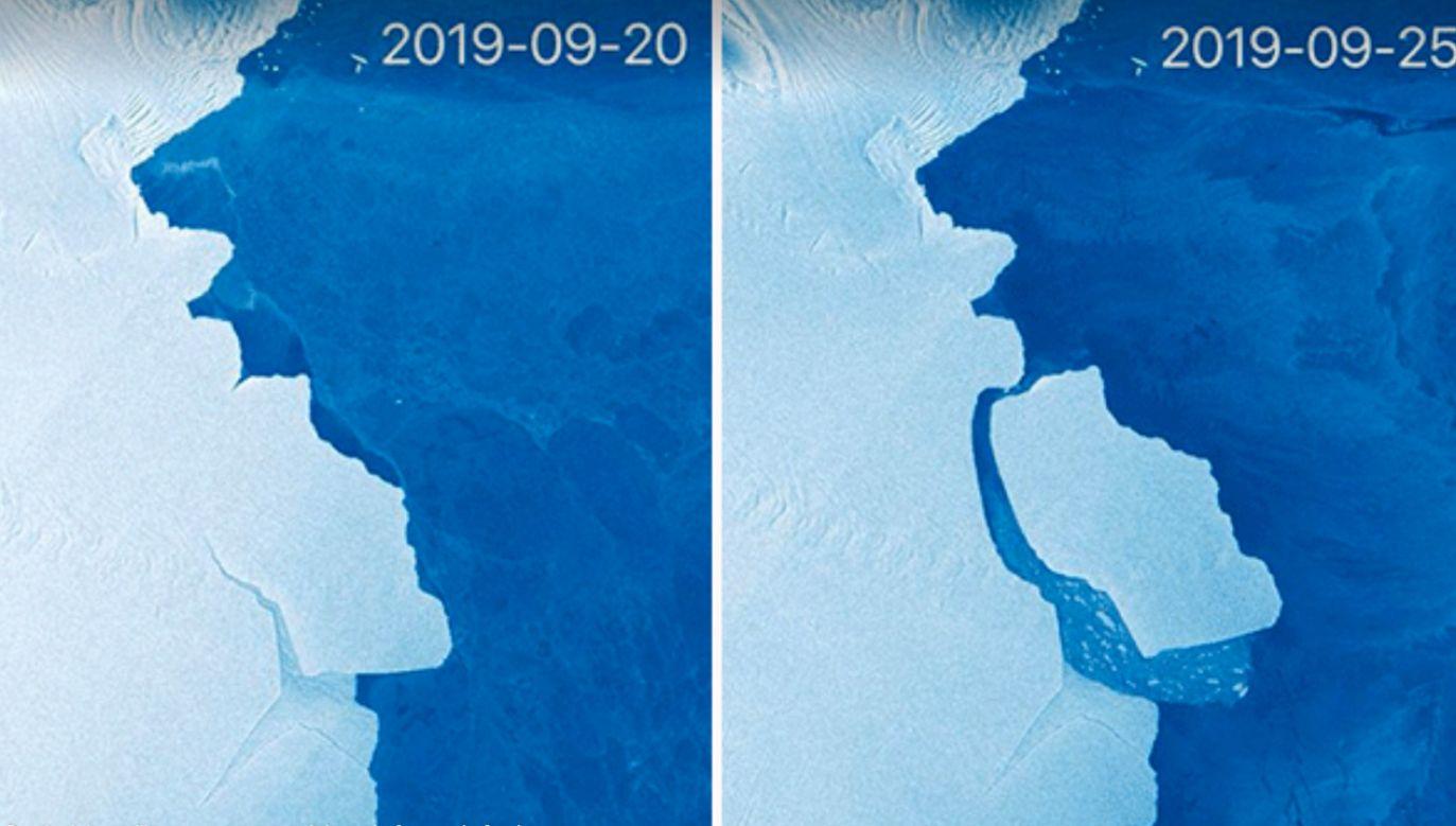 Olbrzymia góra lodowa oderwała się od lodowca szelfowego Amery we wschodniej części Antarktydy (fot. Copernicus)
