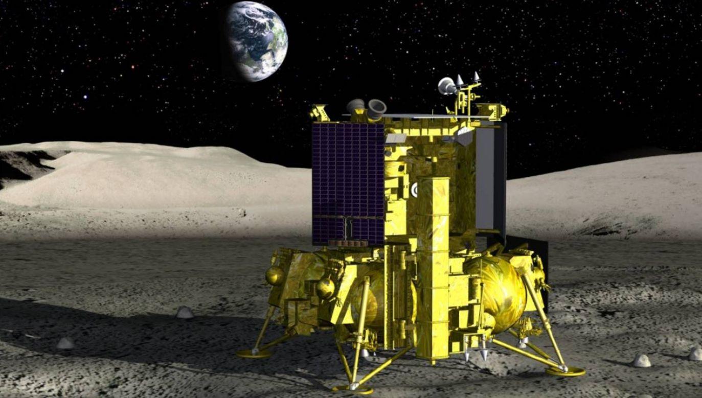 Sonda Łuna-25 ma zbadać depozyty lodu wodnego na południowym biegunie Księżyca (graf. Roskosmos)