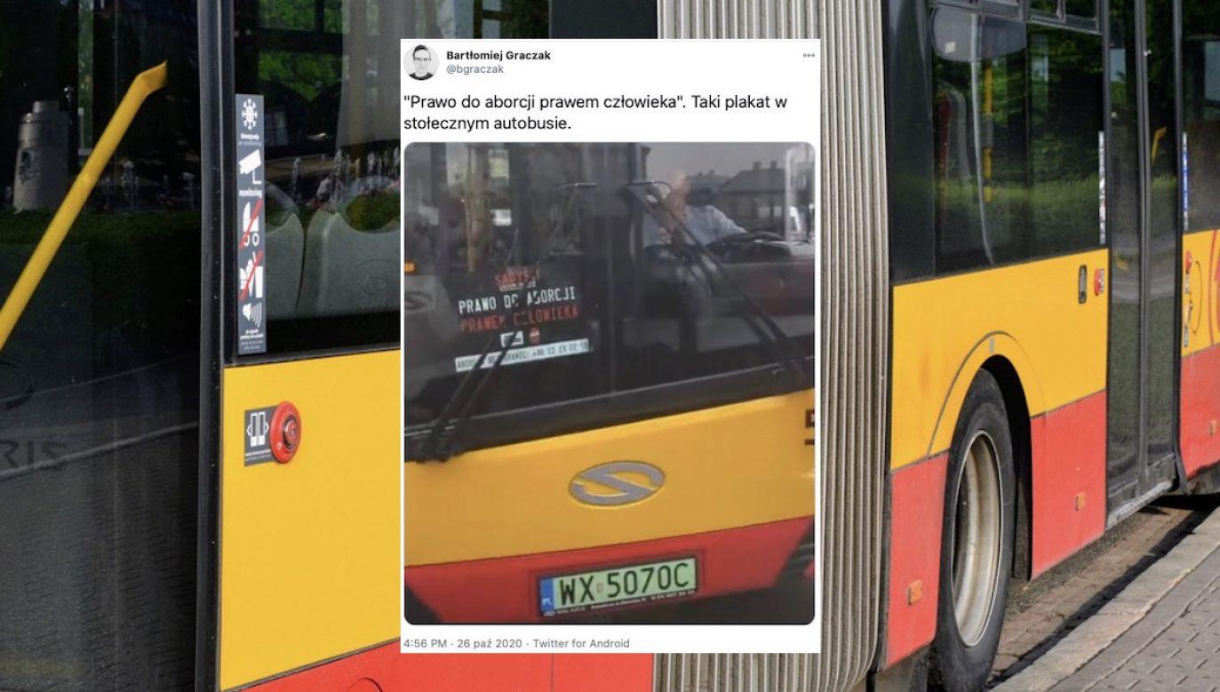 Zawieszono go tuż przy siedzeniu kierowcy (fot. tt/@bgraczak, Shutterstock/PaulSat)