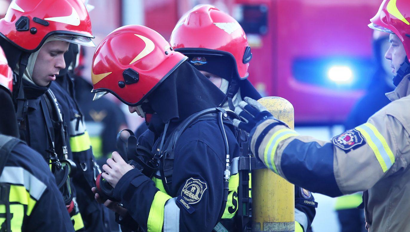 Według wstępnych ustaleń eksplodowała 11 kilogramowa butla z gazem (fot. PAP/Andrzej Grygiel)