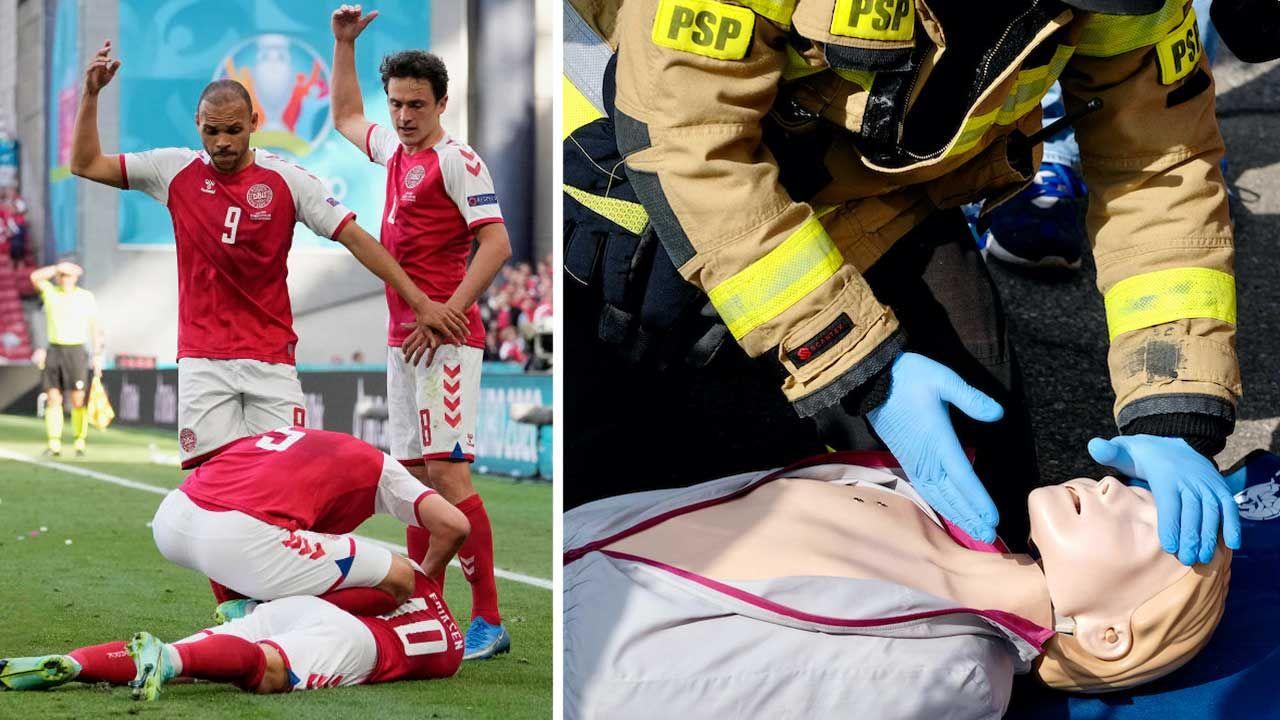 Pierwszej pomocy Eriksenowi udzielił kapitan reprezentacji Danii Simon Kjaer (fot. arch.PAP/Andrzej Grygiel; Martin Meissner - Pool/Getty Images)