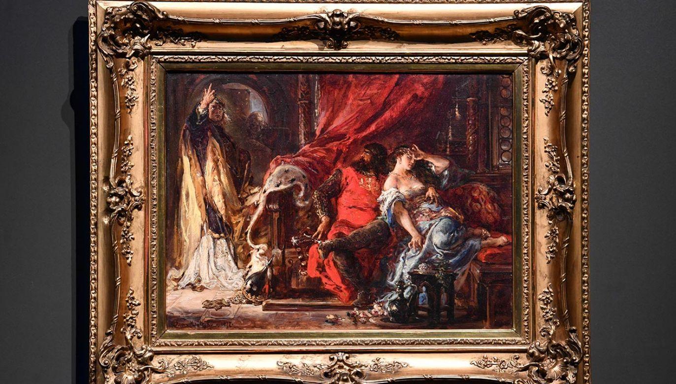 """""""Święty Stanisław karcący Bolesława Śmiałego"""" z 1877  (fot. PAP/Radek Pietruszka)"""