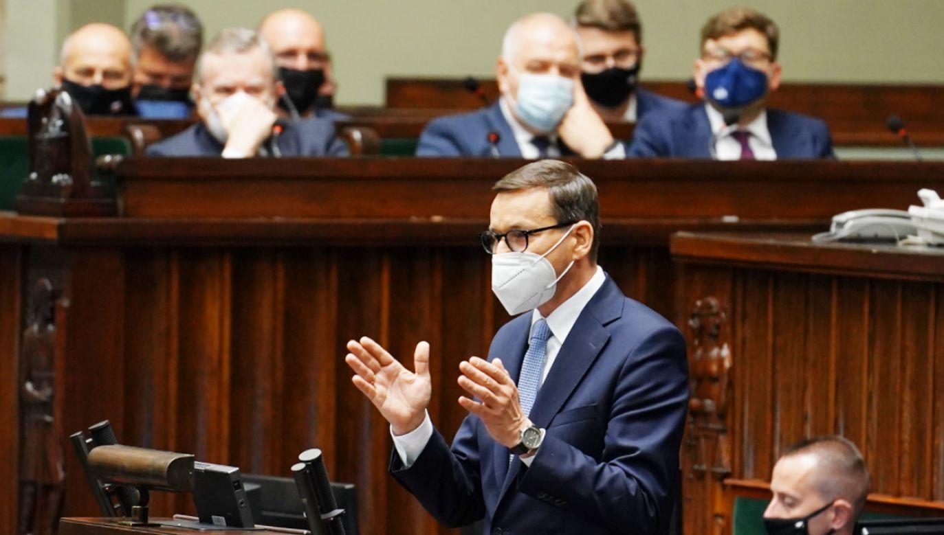 Mateusz Morawiecki w Sejmie bronił ministra Mariusza Kamińskiego(fot.TT/Sejm RP)