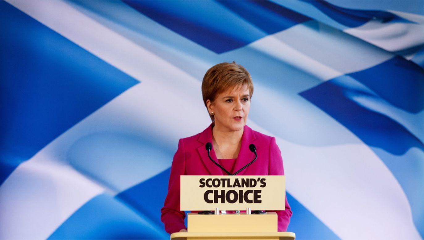 Nicola Sturgeon jest przewodniczącą Szkockiej Partii Narodowej (fot. PAP/EPA/Robert Perry)