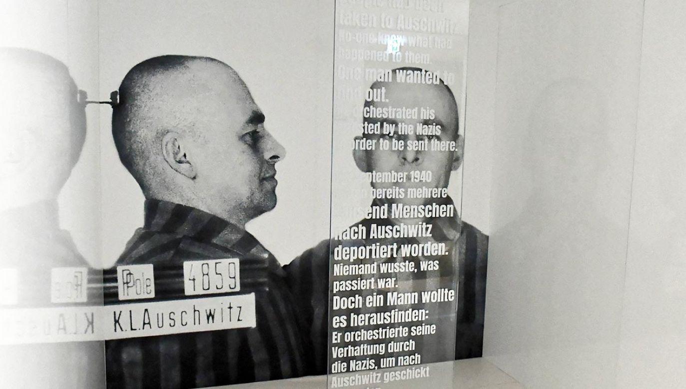 """Wystawa pt. """"Ochotnik. Witold Pilecki i jego misja w Auschwitz"""" w Instytucie Pileckiego – oddział w Berlinie, przedstawiająca nieznane dotychczas w Niemczech losy rotmistrza (fot. PAP/Marcin Bielecki)"""
