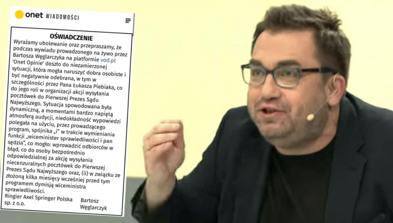 Bartosz Węglarczyk przyznał się, że jego rozmowa z Jackiem Ozdobą w Onecie zmieniła się w